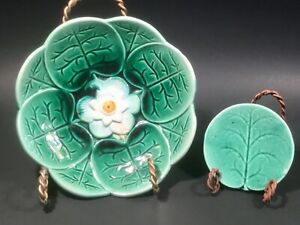 Antique Water Lily Pad Bowl and Butter Pat c.1800's (b)
