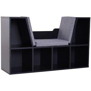 2-in-1 Bookcase Seat Bench Bookshelf Wooden Storage Display Shelves Black Grey