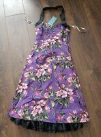 KAREN MILLEN Purple Floral Cocktail Race Pencil Dress 8uk bnwt new 100% silk