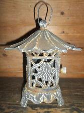PAGODA-Vintage Cast Iron Asian/Japanese Pagoda Lantern Candle Holder Patina Aged