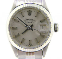 Rolex Date Ladies Stainless Steel Watch Jubilee Band Gold Bezel Silver Dial 6916