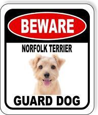 Beware Norfolk Terrier Guard Dog Metal Aluminum Composite Sign