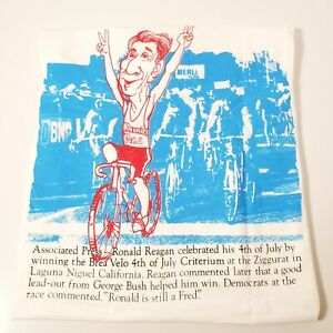 Vtg 1988 Brea Velo's Criterium July 4th Cycling Tshirt Ronald Reagan Ziggurat