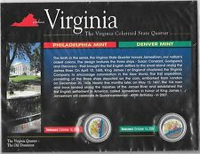 2000 Philadelphia & Denver Mint Virginia Colorized State Quarters COA Sealed