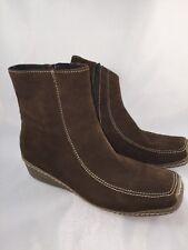 Navid O Nadia by Demfon ankle boots brown zipper wedge heel Belton Size 41