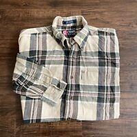 Vintage Chaps Ralph Lauren Button Up Flannel Shirt Mens Medium Brown Plaid