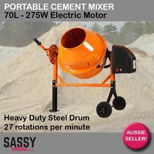 Portable Cement Mixer 70L 275W Electric Concrete Mortar Plaster Mixer H/D Steel