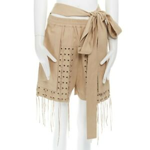 HAIDER ACKERMANN beige lace up grommet stud leather tie waist shorts FR34 29""