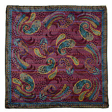 "New SANTOSTEFANO Purple 15"" Silk Paisley Pocket Square Handkerchief NWT $150"