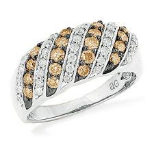 Chocolate Brown & White Diamond Ring 10K White Gold Diamond Band 1.0ct