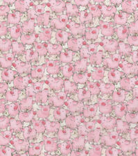 Watercolor Packed Pigs Fabric, 100% Cotton Fabric By The Yard