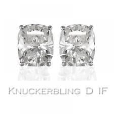 Diamond Solitaire Studs: 0.50ct Certified D IF VG Cushion Cut Diamonds, Platinum