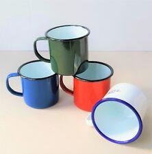 8cm Enamel Mugs Falcon Camping Travel Home Tea Coffee Traditional Tin Cup Colour