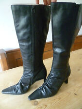 TAMARIS SIZE 38 UK5 LADIES BLACK LEATHER KNEE HIGH BOOTS GOOD CONDITION