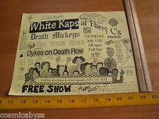 White Caps Death Mickeys Dykes on D R 1980s ORIGINAL Punk Rock concert poster CA