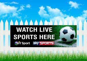 Live Sports Here Sky Sports BT Sport  Vinyl Banner - Advertising Pub Bar Sign