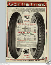 """1920 PAPER AD Vintage Gorilla Grip Tire Car Automobile Gum Rubber Tubes 9"""" X 13"""""""