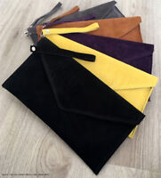 Black Wedding Clutch Bag Evening Bag Over Size Envelope Suede Prom Made in Italy