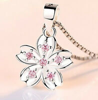 "925 Sterling Silver Womens Link Chain 24"" Necklace, Pink Crystal Flower D677-24"