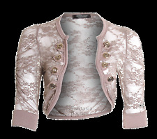 Womens 8 button Lace shrug Crop Top Ladies Military Style Blazer Jacket Cardigan