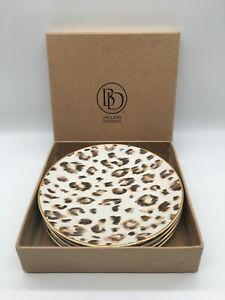 "Ballard Designs Set Of 4 Leopard Print Accent Salad Dessert Plates Gold Trim 8"""