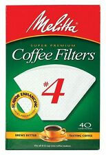 Melitta #4 Cone Paper Coffee Filter White - Measure Markings, 40 Count - 24 Pack