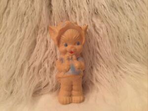 Ruth E Newton Sun Rubber Co Vintage Squeak Toy Doll Cat Kitten Sunbonnet 1950s