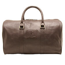 Underwood & Tanner-brown knightsbridge travel holdall in soft grain cuir
