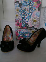 IRREGULAR CHOICE MAL E BOW BLACK LADIES HIGH HEEL SHOES SIZE 6