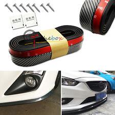 Black Carbon Fiber Style Front Bumper Lip Splitter Spoiler Body Protector Strips