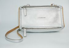 Givenchy Women's Pandora Double Zip Leather Shoulder Bag, Silver, MSRP $1,520