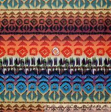 BonEful Fabric Cotton Quilt Brown Red Orange Southwest Stripe Aztec Indian SCRAP