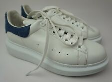 Alexander McQueen Oversized Sneaker Women's White Jean Denim Trim Shoes Size 40