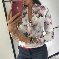 Camisa Elegante Para Mujer Blusa Casual Primavera Estampado Floral Botón Diseño