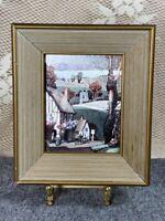 VIntage Framed Farm House Iridescent Foil Art # 2007 - FRANKLIN PICTURE Frame Co