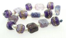 OliveStuart Handmade Lampwork Beads 15 purple tiles /round