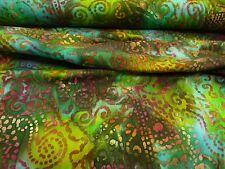 15,90 €/m, Jerseystoff, Batik, Baumwolle, Türkis, Grün,geometrisches Muster,