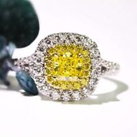 3ct Square Cut Womens Yellow Engagement AAA CZ 925 Silver Wedding Ring Size 4-10