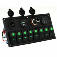 Auto 8Gang LED Bootslicht Schalttafel Schaltpanel Boot RV Dual USB Ladegerät 12V