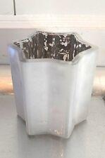 Teelicht aus Glas Stern weiß Windlicht Teelichtglas x-Mas Weihnachten Deko 7,5cm