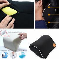 Car Memory Foam Head Neck Rest Cushion Support Seat Headrest Black Pillow Pad
