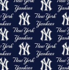 New York Yankees Blue MLB Baseball Sports Team Cotton Fabric Print by the Yard