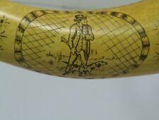 Scrimshawed Black Powder Horn Very Ornate Hunter With Dog