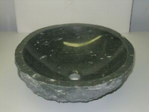 Emerald green marble stone round Natural chiseled vessel carved bathroom sink