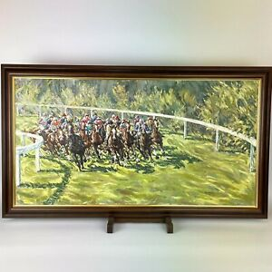 Roy Miller 1972 Rounding The Bend Horse Racing Oil On Canvas 96cm X 54.5cm