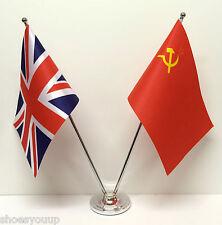 Union Jack & USSR Russia Friendship Flags Chrome & Satin Table Desk Flag Set
