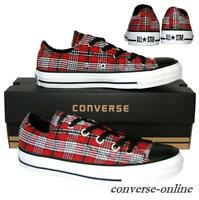Womens Boys CONVERSE All Star RED BLACK PLAID OX CHUCKS Trainers Shoes UK SIZE 4