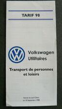 Petite brochure tarif 98 Volkswagen VW Transport de personnes et de loisirs