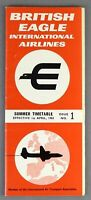 BRITISH EAGLE AIRLINE TIMETABLE SUMMER 1965 NO 1 INTERNATIONAL AIRLINES