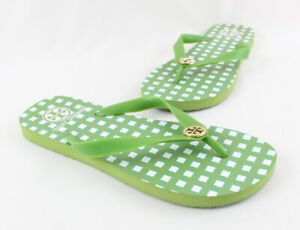 Tory Burch Green Rubber Gold Toned Logo Accent Flip Flop Sandal Size 7 8